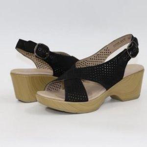 Dansko Black Jacinda Nubuck Sandals